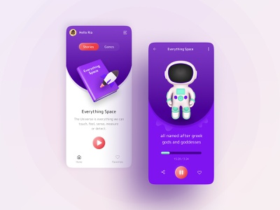 Audiobook App Concept animation graphic design education kids colourful clean ui clean mobile android ios app storytelling 3d