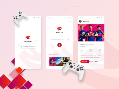 Google Stadia Concept Android app stadia gaming game playstore concept app ux ui design
