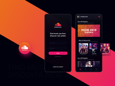 SoundCloud the--creador social media interface iphone xr xs uiux ui design playlist login concept cloud playstore app artists songs soundcloud