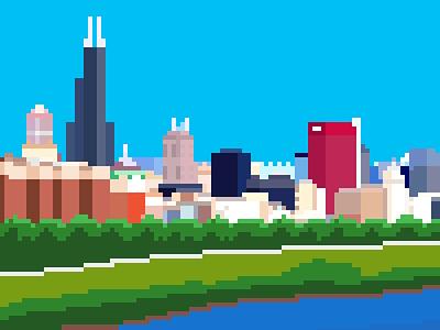 Chicago Pixel Skyline pixel art sears tower skyline chicago pixel