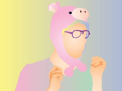 easter pig vector gradient pastel easter