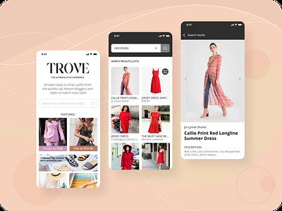 Trove mobileapp uidesign ui fashion app fashion