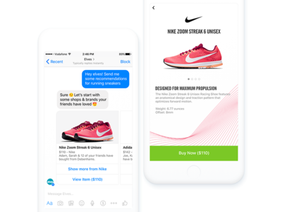 Nike in Messenger (Facebook Canvas) e-commerce facebook canvas messenger conversational commerce chatbots chatbot shoes shopping ux sports nike
