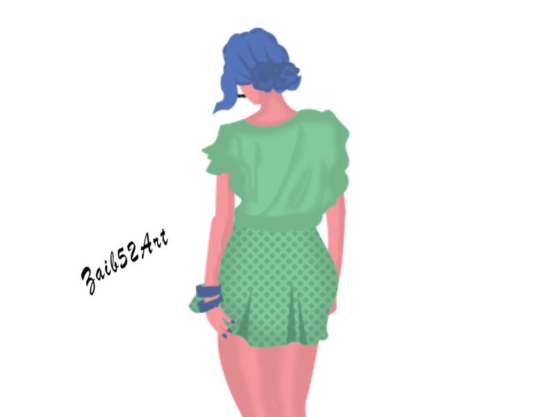Practice 47  - Summer is Comming... zaib52art 52art 52 green blue art hassan draw love spring illustration summer