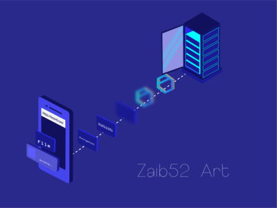 How Encryption take place in tresorit 2d blue brand zaib52art isometric art isometric branding rebound illustration