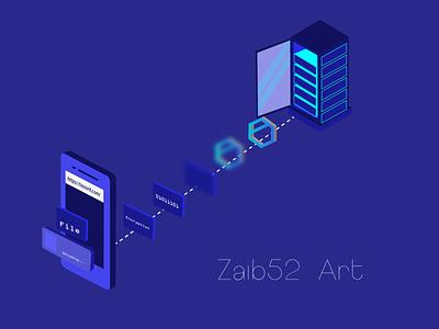 How Encryption take place in tresorit 2d blue brand zaib52art isometric art isometric branding rebound illustration