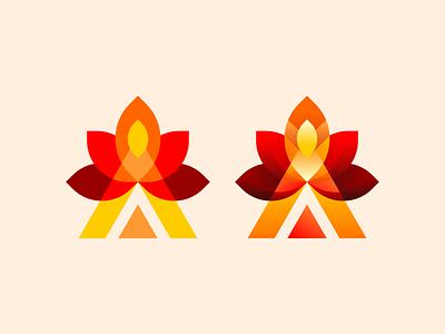 Camp Fire Logo vector illustration design fire camp a typography icon app branding logo