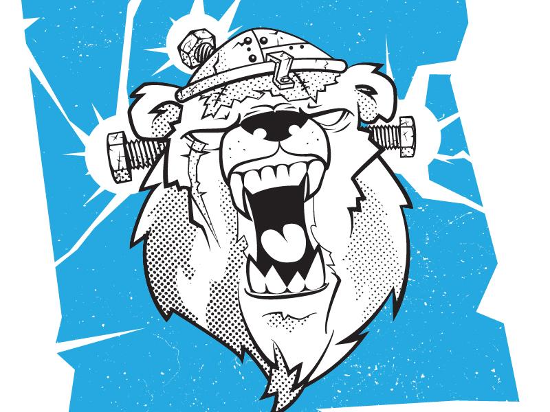 Bearstein tshirt design tshirt art thunder bear illustration bear vintage grunge branding design