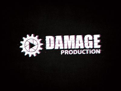 Dmg Production glitch play icon play cogwheel production damage grunge vector branding logo