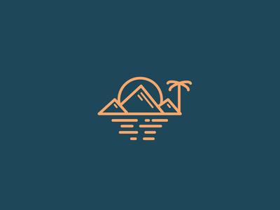 mountain beach logo concept