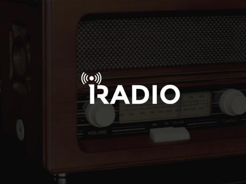 iRadio Logo news music people network fm modern simple logo podcast radio
