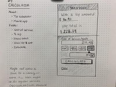 DailyUI #04 sketch challenge