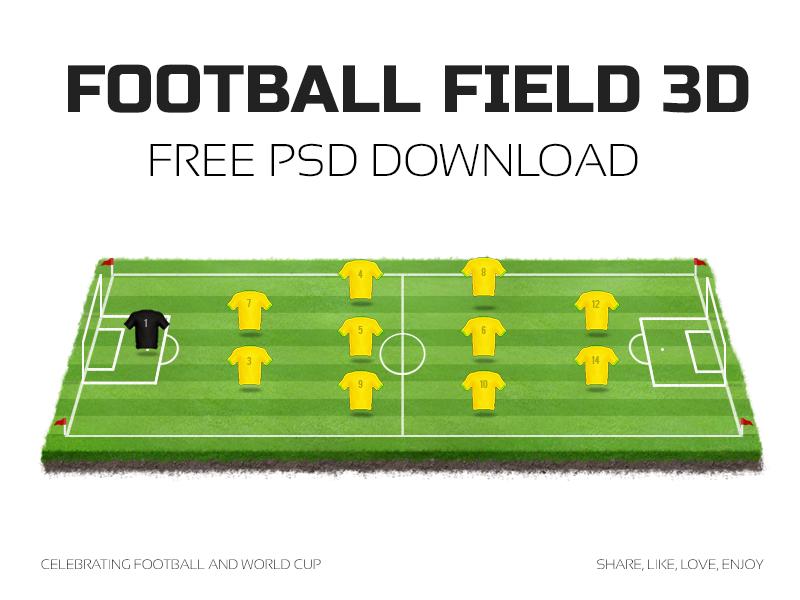 Football field 3d poster dribble
