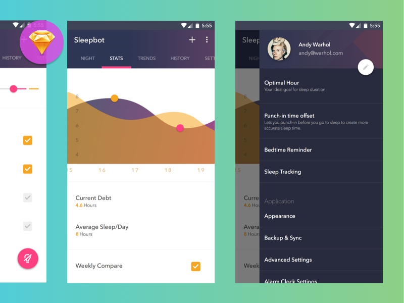 Sleepbot android dribbble