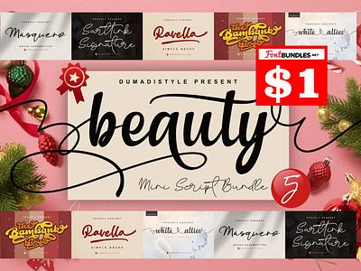 Beauty Bundels $1 bold animation logo branding newfont typography design handmade font blackfriday