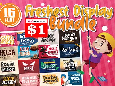 $1 Display Bundle covid19 web app bold animation logo branding newfont typography design handmade font