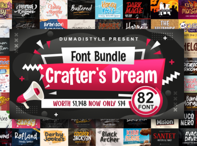Crafter's Dream Fonts Bundle covid19 web app animation logo branding newfont typography design handmade font