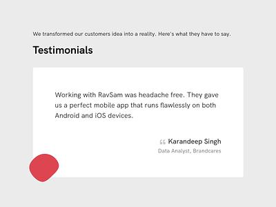 Customer Testimonial Design carousel form website customer testimonial vector logo illustration branding app ui web design redesign design website development
