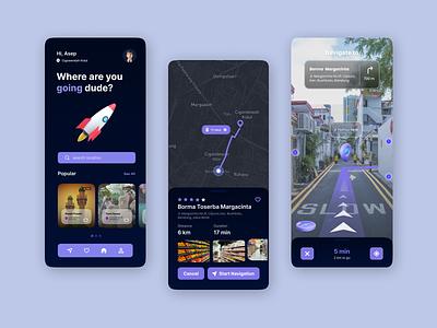 AR Navigation Map graphic design uiux ui map navigation blue reality augmented augmented reality ar
