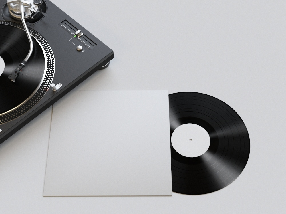 Realistic Vinyl Mockup turntable player booklet 3d print cover realistic mockup