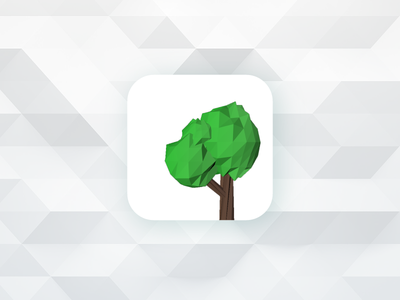 Low Poly App Icon low poly app icon tree 005 dailyui