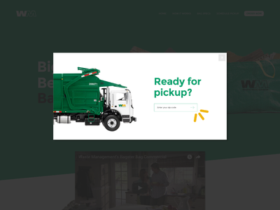 Bagster Concept — Pickup Overlay landing page waste management popup overlay portfolio concept ui green bagster