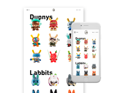 Kidrobot Mobile Shop responsive mobile shopify ux ui web website concept ecommerce store kidrobot