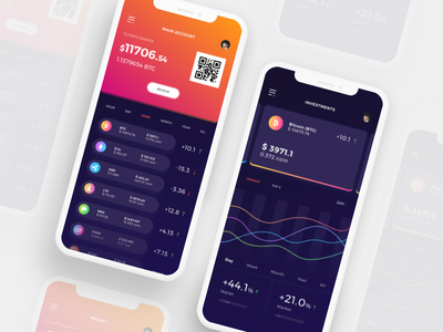 Cryptocurrencies Wallet - Mobile App wallet trading mobile ios exchange design cryptocurrencies crypto bitcoin app
