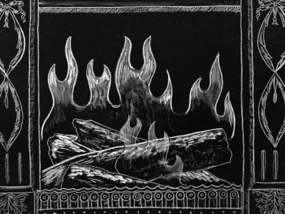 Chalk fireplace art - Johnston & Murphy 2013