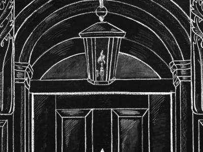 Chalk illustration - NYC stoop for Johnston & Murphy