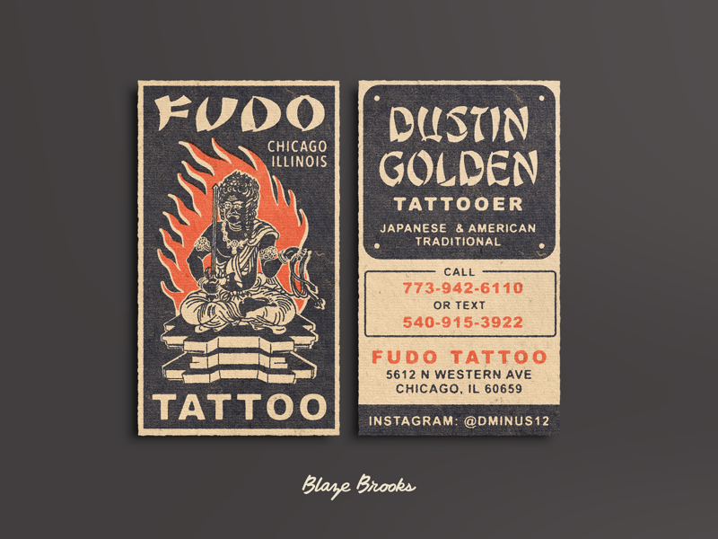 Fudo Tattoo Business Cards texture antique tattoo business cards print retro vintage