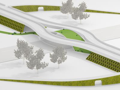 Green Viaduct - Curve visualisation architecture design illustration redshift c4d art direction 3d