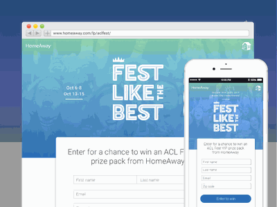 HomeAway's Fest Like the Best ACL Sweeps Landing Page custom typography sweepstakes vacationrentals expedia homeaway