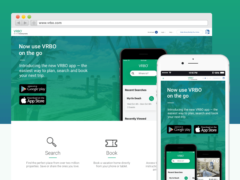 VRBO App Launch. vacation rental by owner vacation rentals launch app expedia vrbo