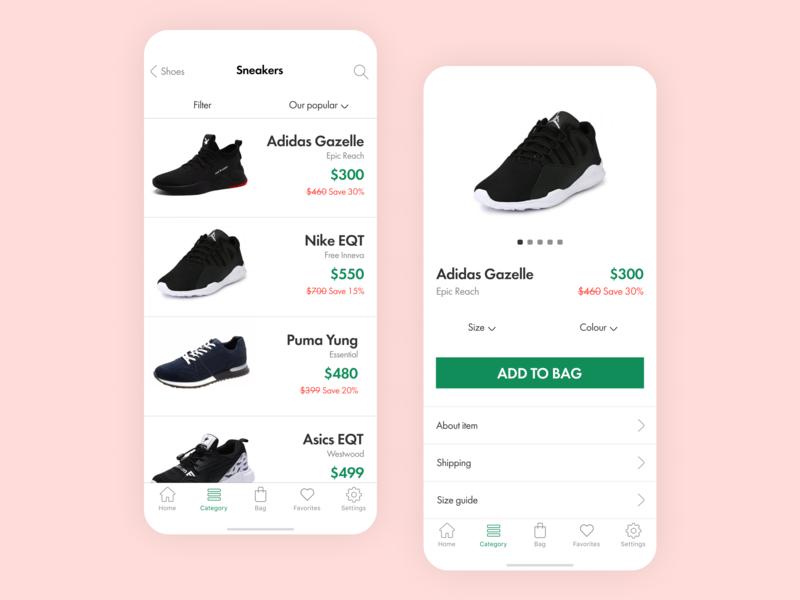 Shopping app design store shopping vector ux ui minimal ios icon flat app