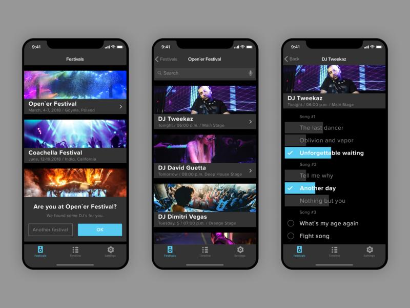 DJ app dark ui music vote dj design vector ux ui minimal ios icon flat app