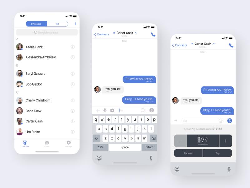 Messenger app clean ui chat sending send money messenger design vector ui ux minimal icon flat ios app