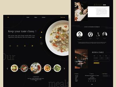 Classic restaurant wireframe page layout web icon design xd minimal color identity creative restaurant homepage kit ui design ux ui
