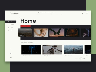 Goodreads - Home page graphic color creative minimal identity wireframes kit adobe xd uxdesign uiux ui landingpage homepage webdesign web