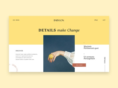 BABYLON adobexd landingpage babylon jewelry elegant soft clean webdesign typography uiux ux ui identity color creative design minimal