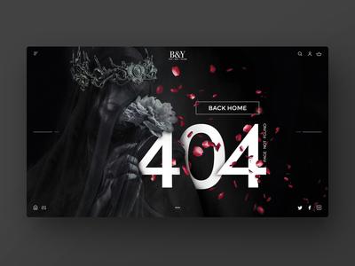 404 Error page — Black concept for Beauty e-commerce website