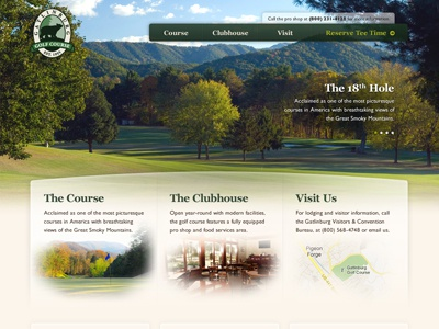 Golf Course Website golf green homepage home page feature navigation slideshow