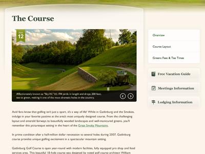Golf Course Website Interior Page golf green interior page slideshow sub navigation