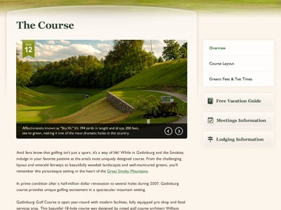 Golf Course Website Interior Page golf green interior page slideshow sub navigation