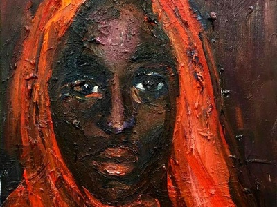 African Beauty with Red Shawl by BRUNI portrait red fine art african american african africa