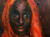 African Beauty with Red Shawl by BRUNI