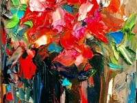 Red Flowers with Black Vase by BRUNI