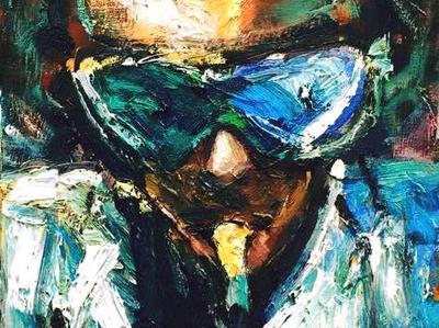 Happy Birthday Miles Davis by BRUNI celebrity people paintings portraits fine art bruni miles davis paintings miles davis art jazz musician paintings jazz paintings miles davis