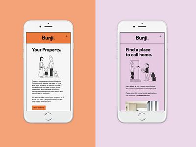 Bunji Website Design drawing property brand website design web design vector logo branding typography illustration uiux ux ui