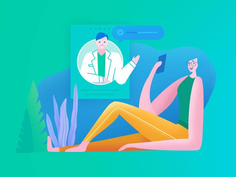 Banner talking design doctors illustration